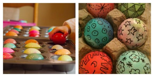 eggs colouring collage