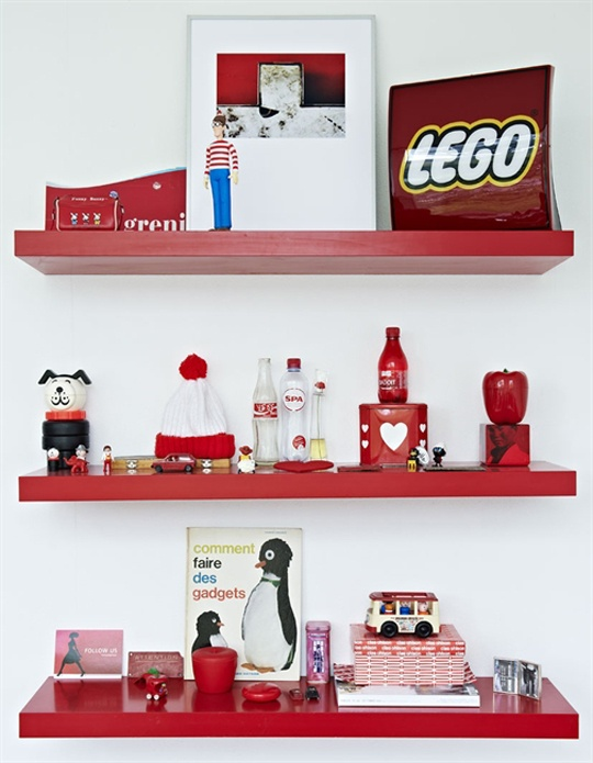 lego red shelves