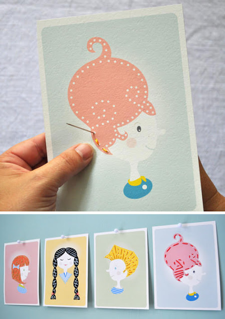 sewing card hair