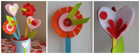 felt flowers collage